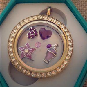Origami Owl Purple Silver Girlie Charm Set!